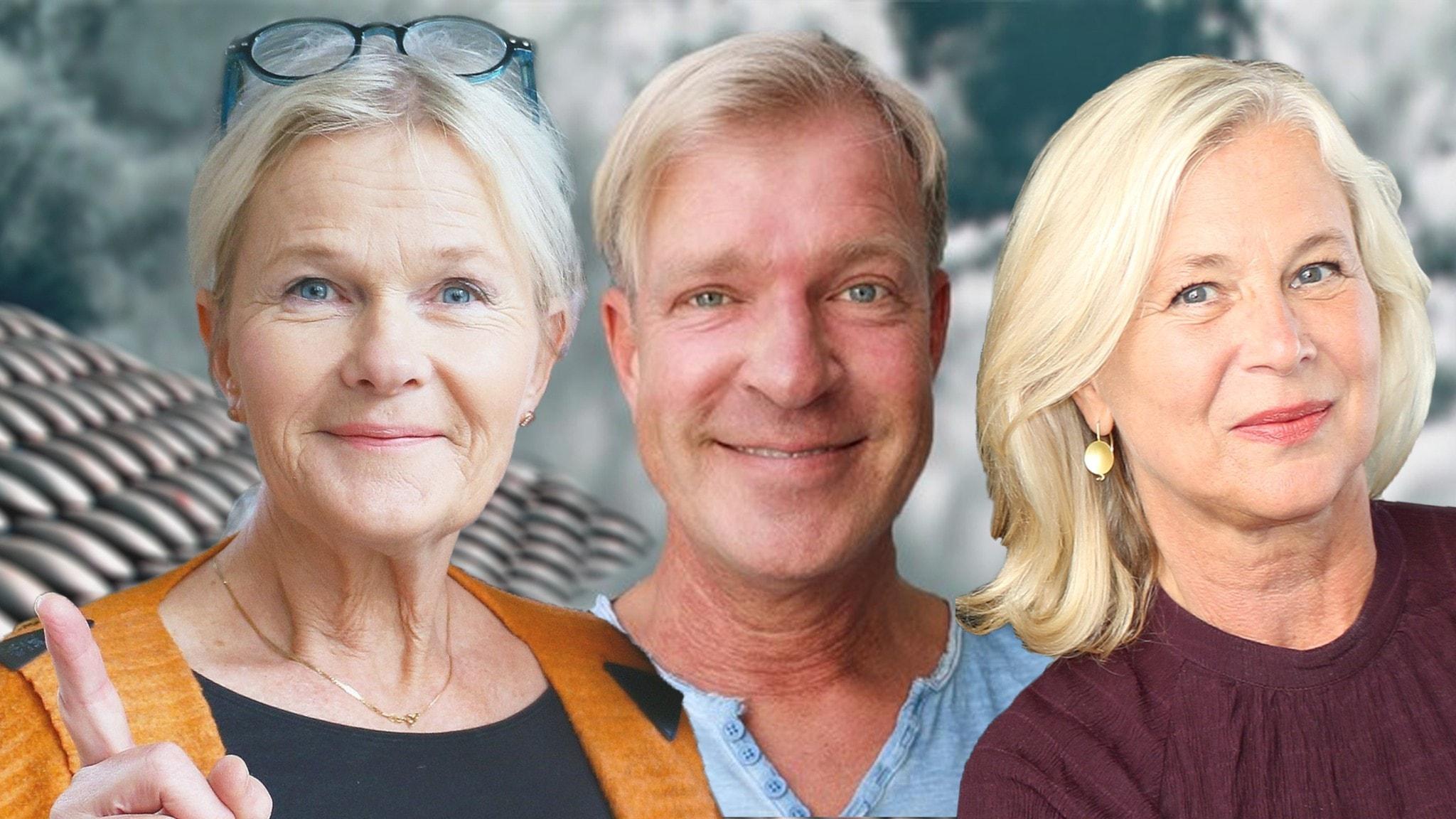 Sissela Kyle, Calle Norlén och Helena von Zweigbergk i Spanarna Foto  Ronnie Ritterland Sveriges Radio