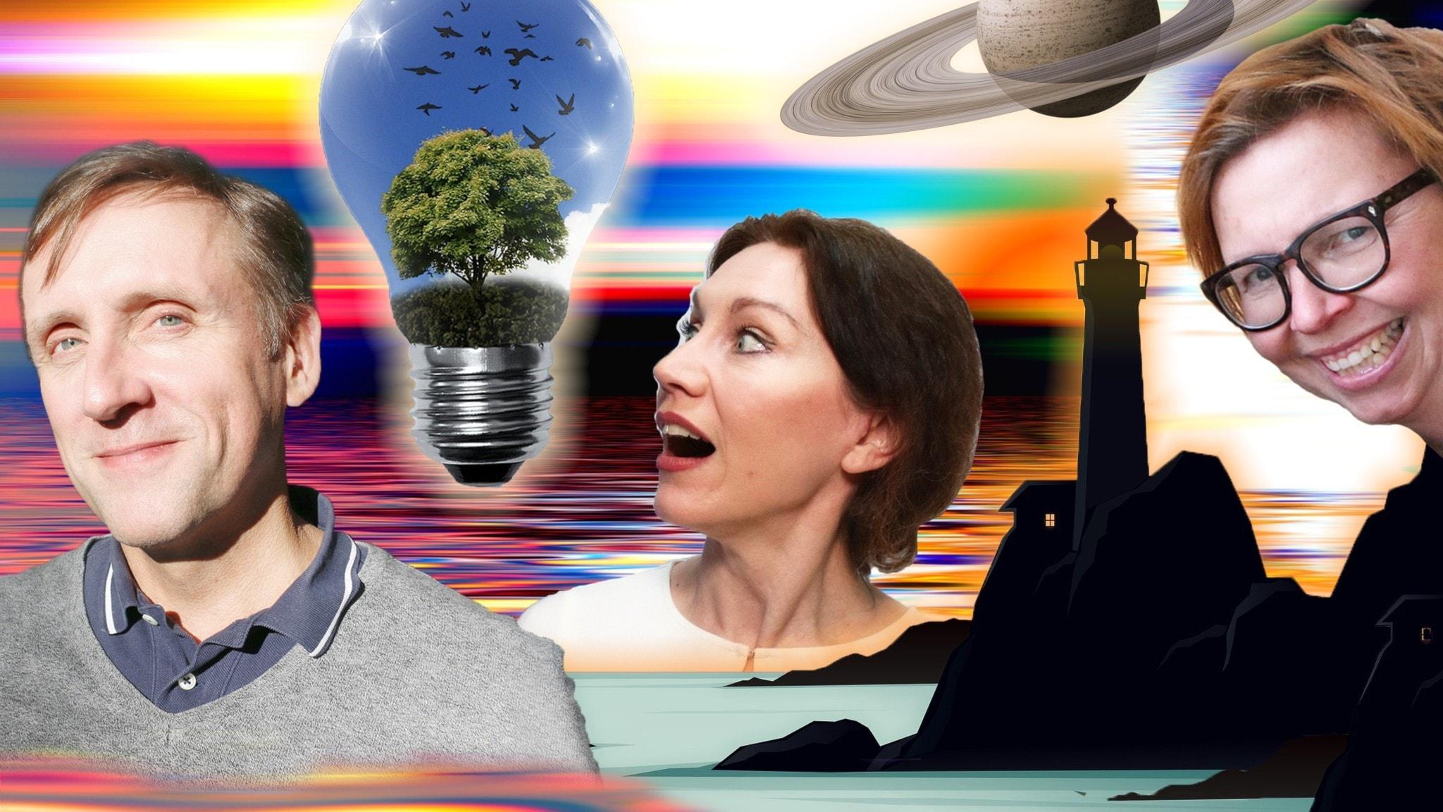 Surrealistisk kollage med Göran Everdahl, Katarina Barrling och Maja Aase. Foto. Niklas Runsten och Ronnie Ritterland Sveriges Radio