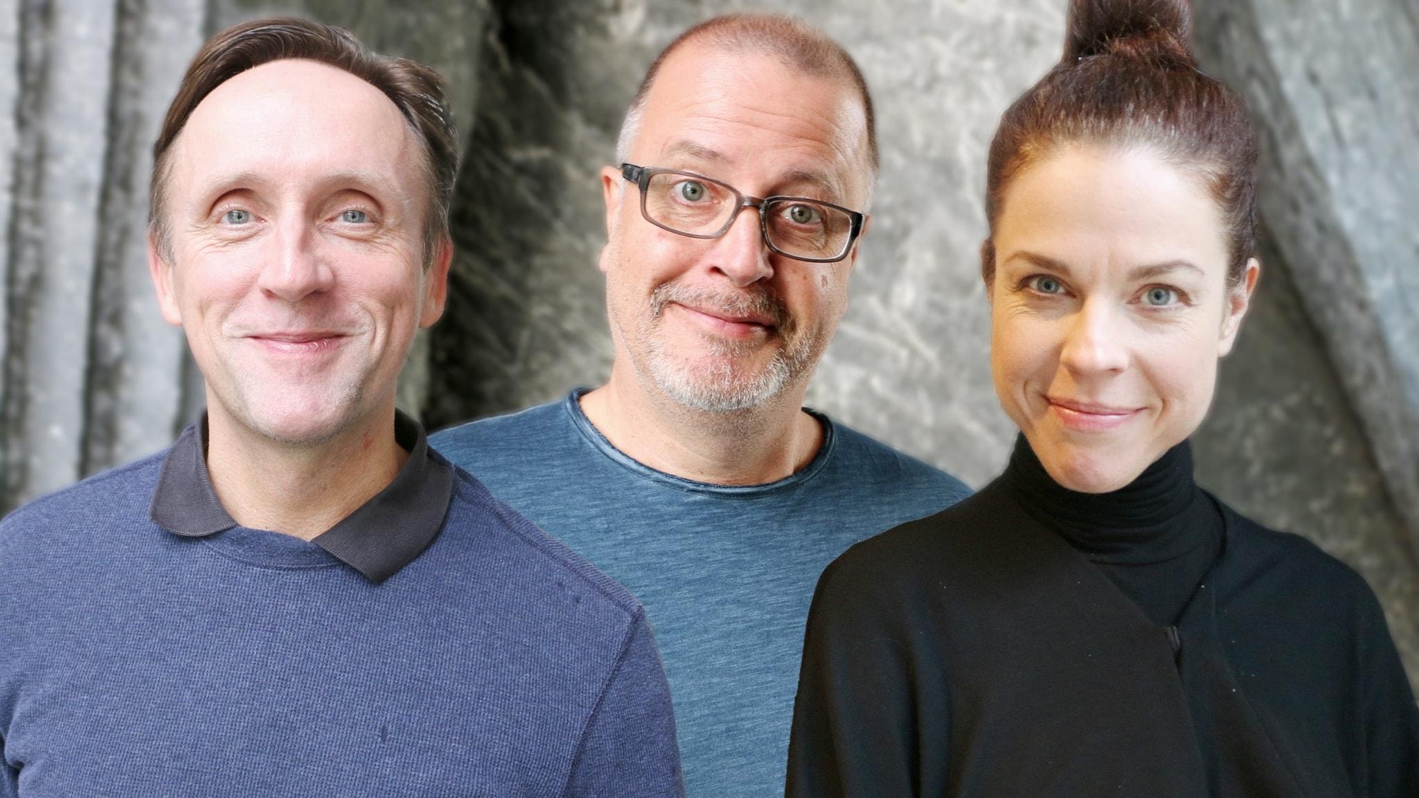 Porträttbilder på Göran Everdahl, Jessika Gedin och Jonathan Lindström. Alla tittar illmarigt och lite klurigt in i kameran.