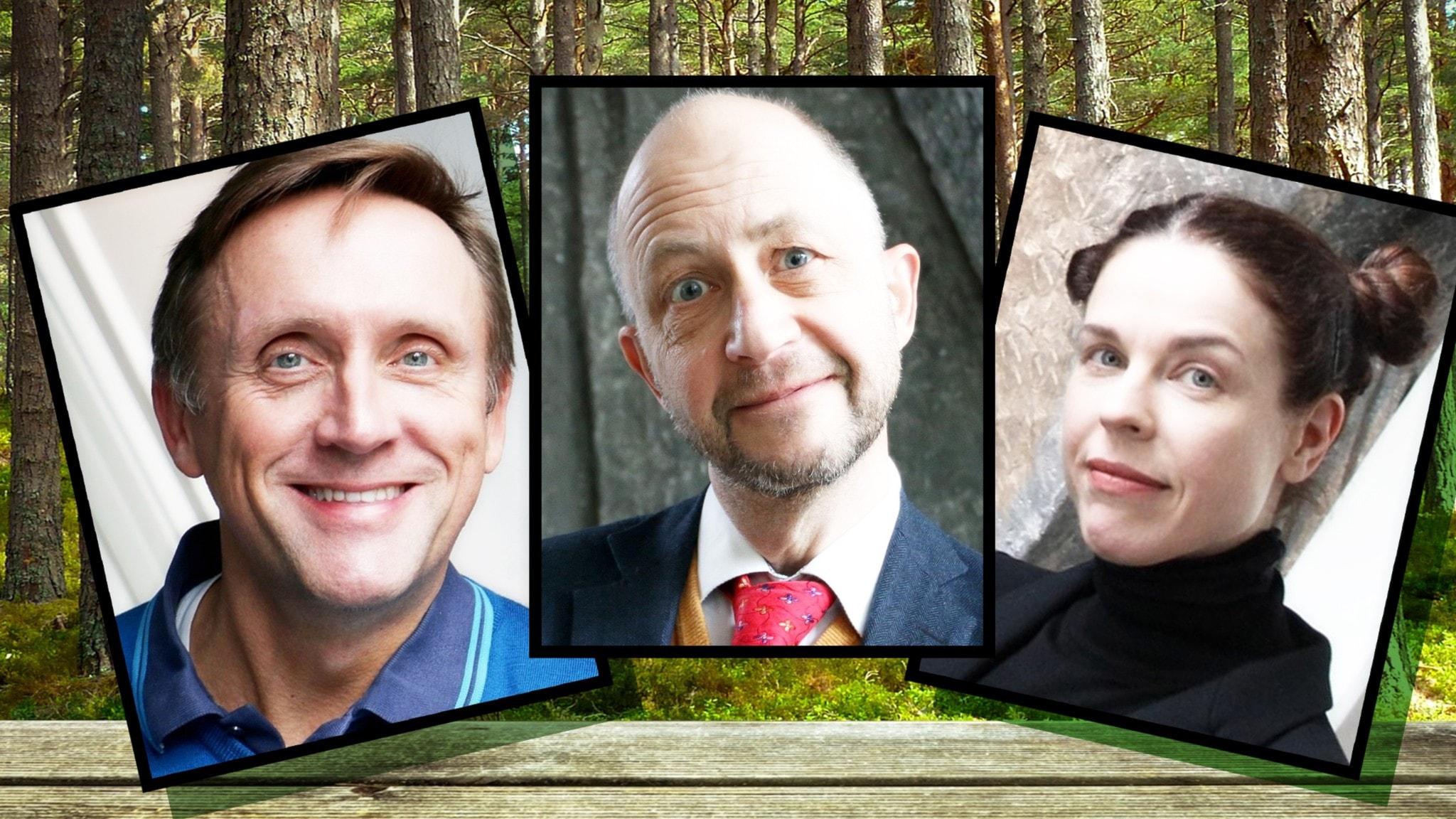 Säsongspremiär för Spanarna hösten 2020 - i panelen som syns på bilden är Göran Everdahl, Per Naroskin och Jessika Gedin synliga mot en bakgrund av trollskog.