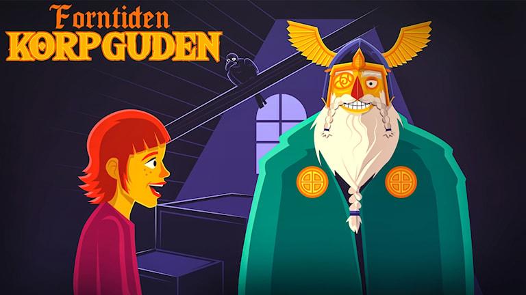 Den gamla asaguden Oden sitter på en vind och surar för att ingen tror på honom längre. Där stöter han ihop med flickan Saga som undrar vem han är. Lyssna till historier om Oden, Tor, Loke, Balder, Idun och andra i Asgård. Från UR.