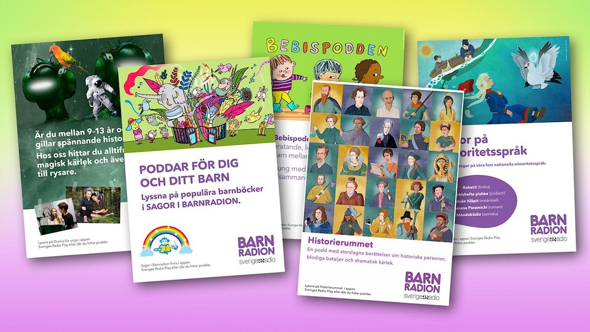 Ett collage med några av affischerna från Barnradion.