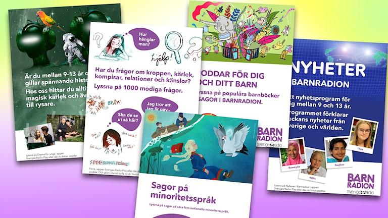 collage av affischer till bibliotek med Barnradions program