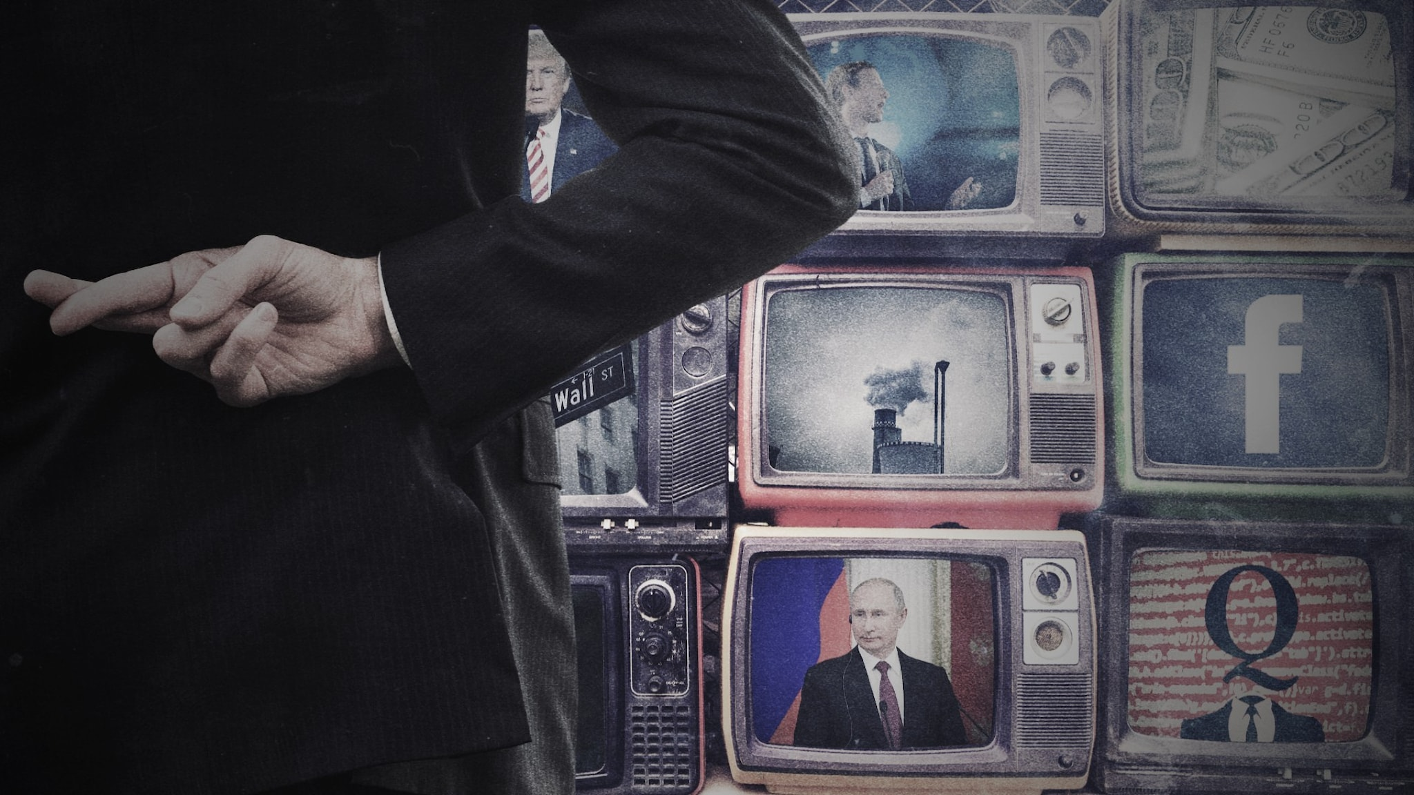 En man som håller fingrarna i kors bakom ryggen och tittar på tv-skärmar