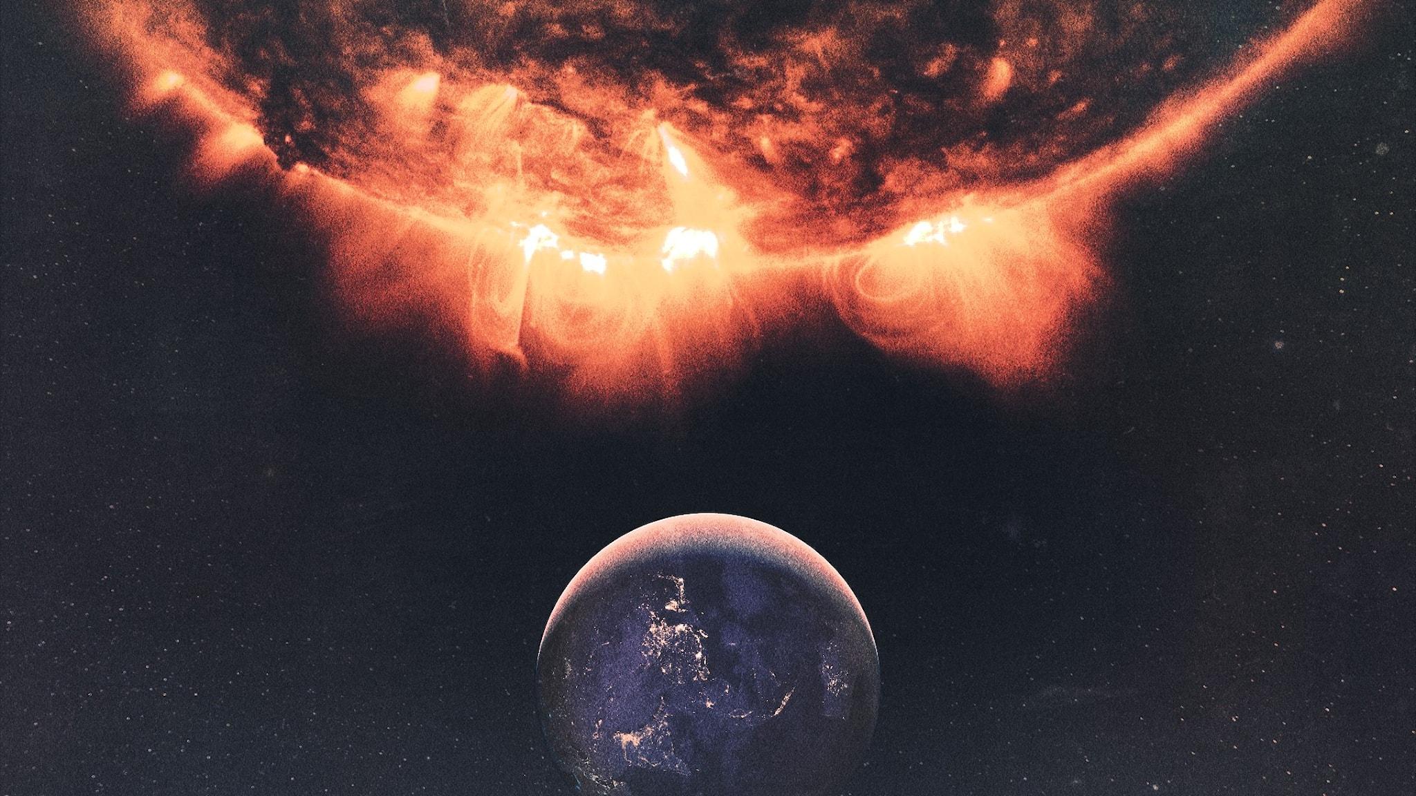 Solen som brinner, och under den jorden.