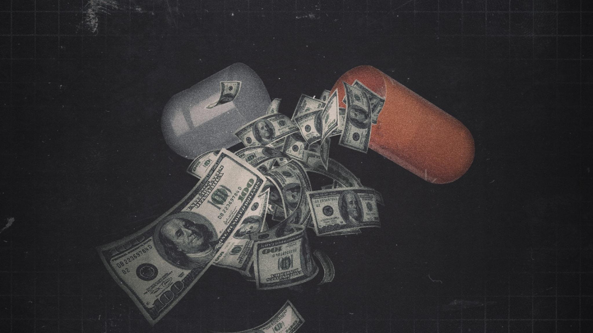 En medicinkapsel fylld med pengar