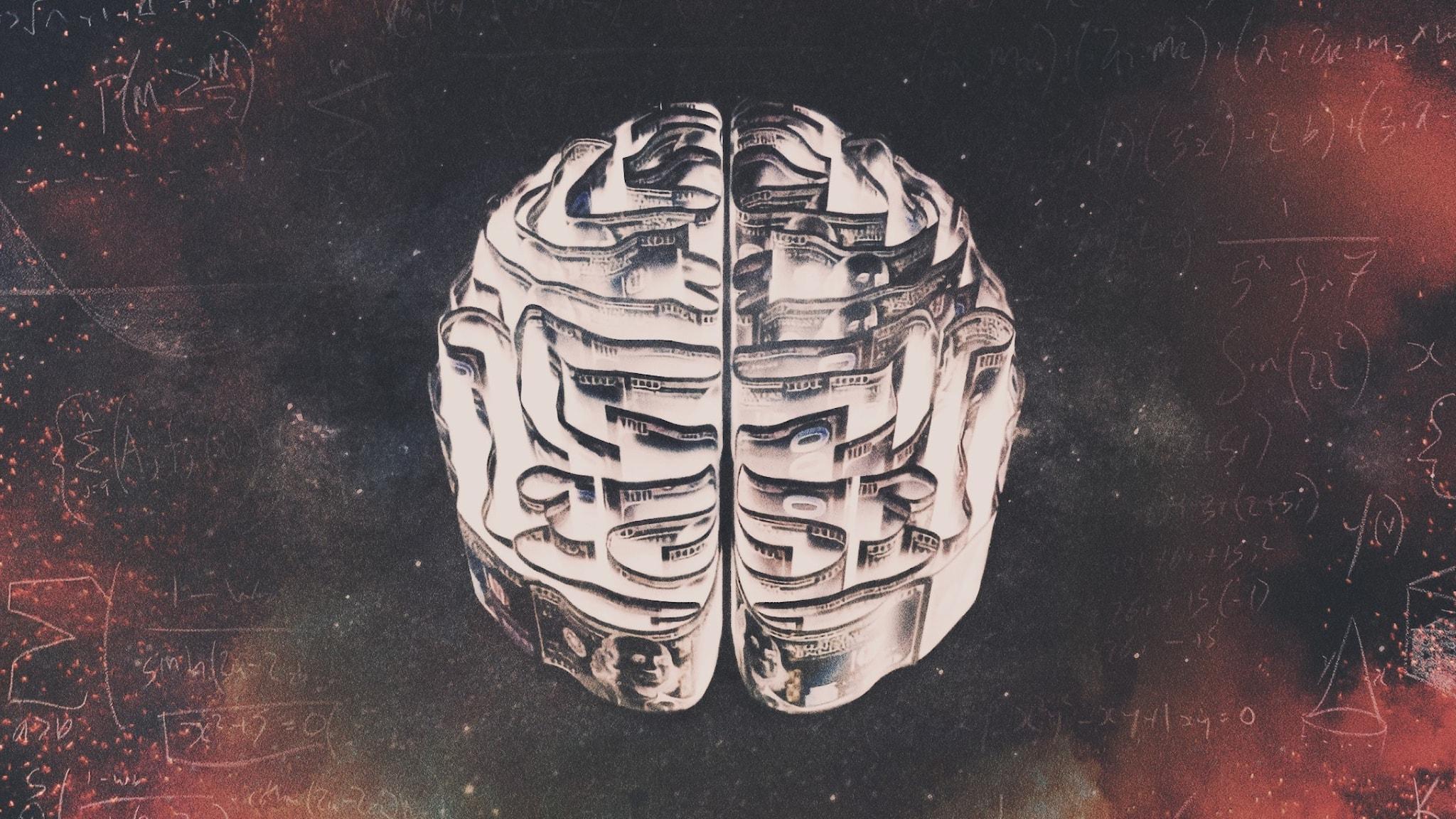 En hjärna som en labyrint gjord av dollarsedlar