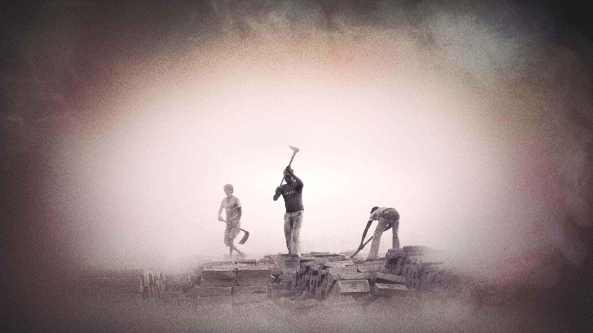 Tre barn arbetar med att hugga tegelstenar