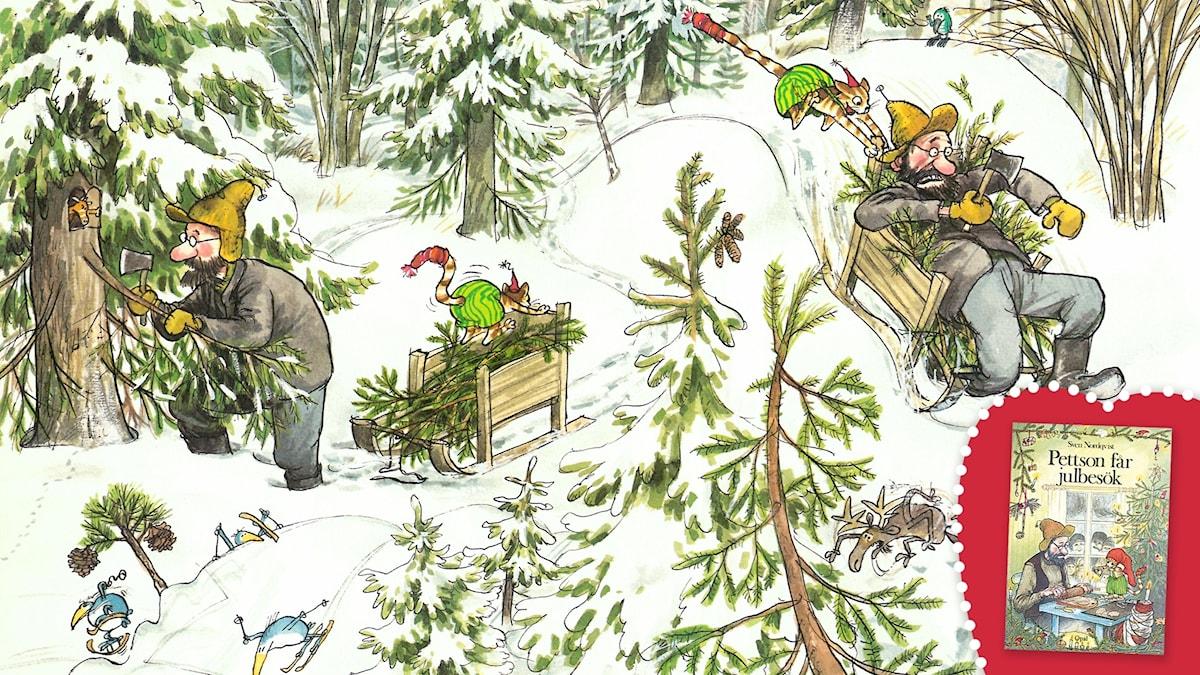 Pettson får julbesök, del 1. Pettson och Findus letar julgran i den snöiga skogen. Bild: Sven Nordqvist