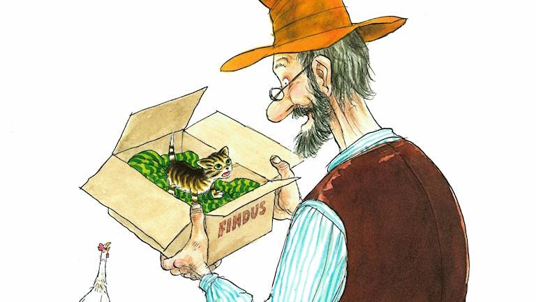 Sagor om gubben Pettson och hans busiga katt Findus.