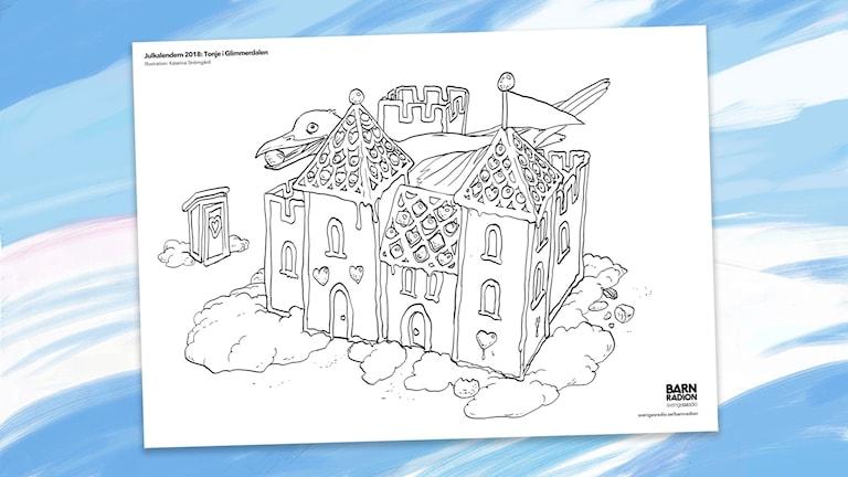 Färgläggningsbild: Gavias pepparkakshus