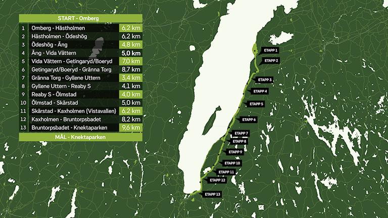 Karta över sträckan