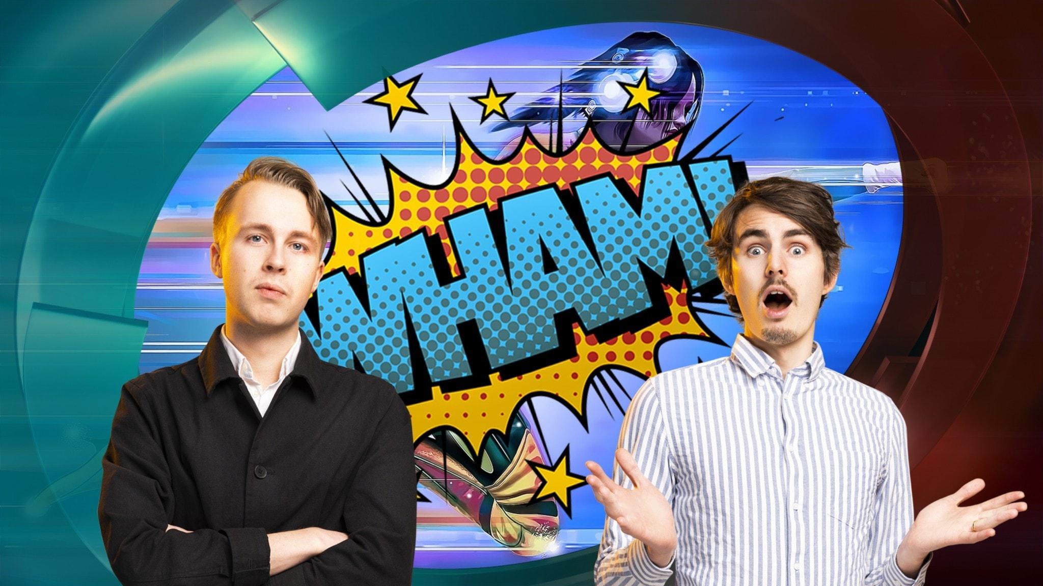 Superhjälte och WHAM med Niklas och Arvid i förgrunden
