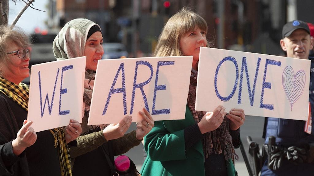 manifestation mot terrorattacken i Christchurch