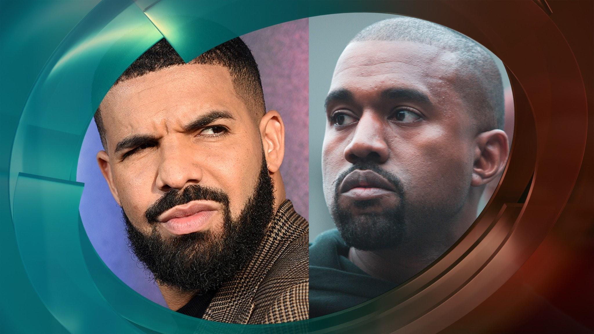 Hiphopartisterna Drake och Kanye West kollar lite argt på varandra