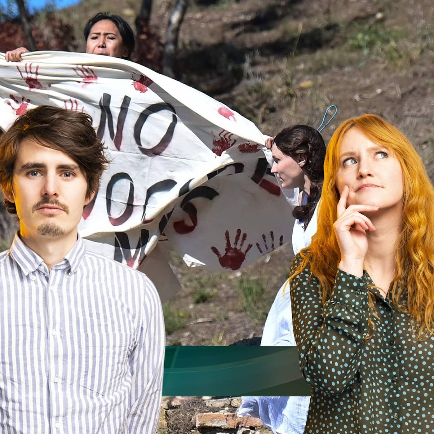 Protester när OS-facklan tändes