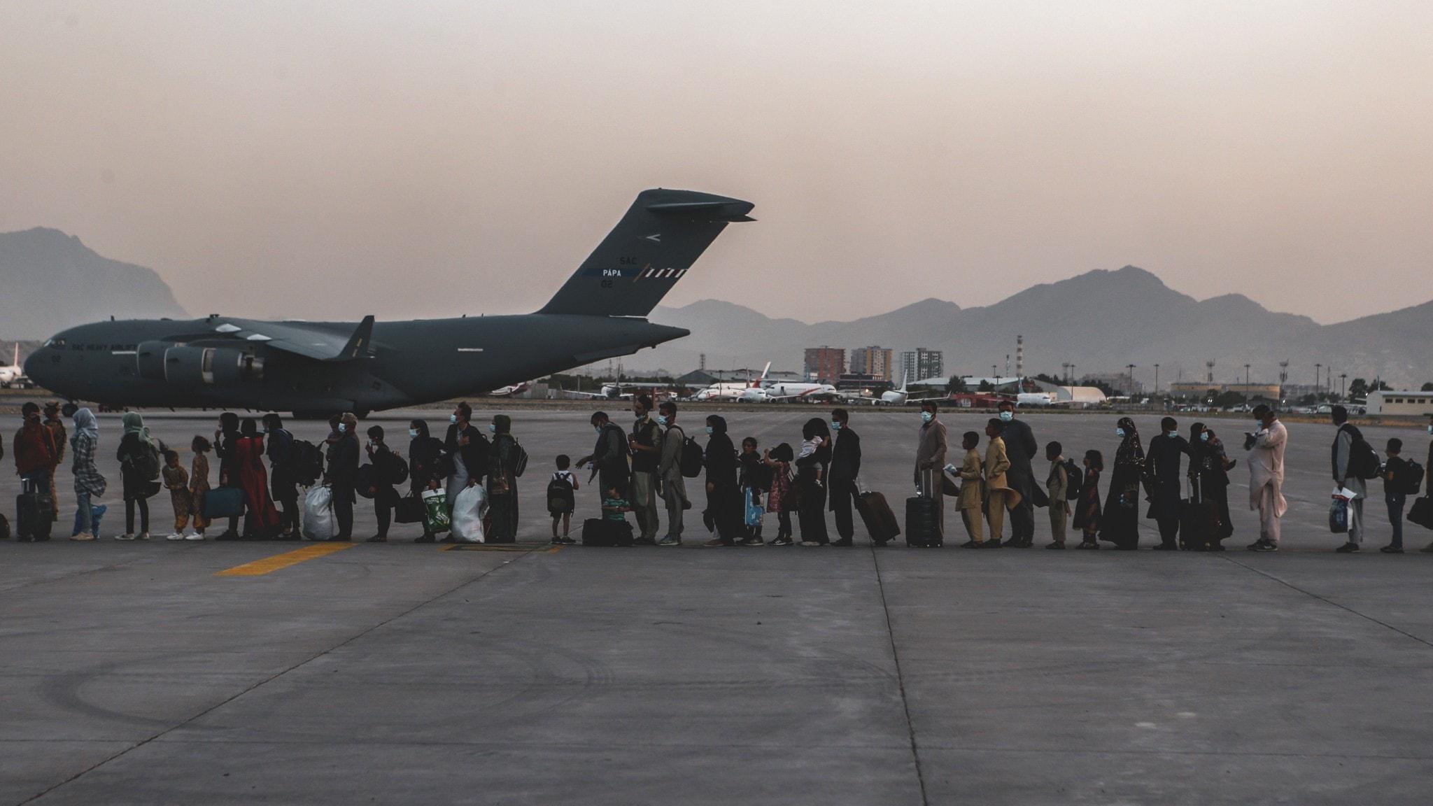 Evakuering Kabuls flygplats.