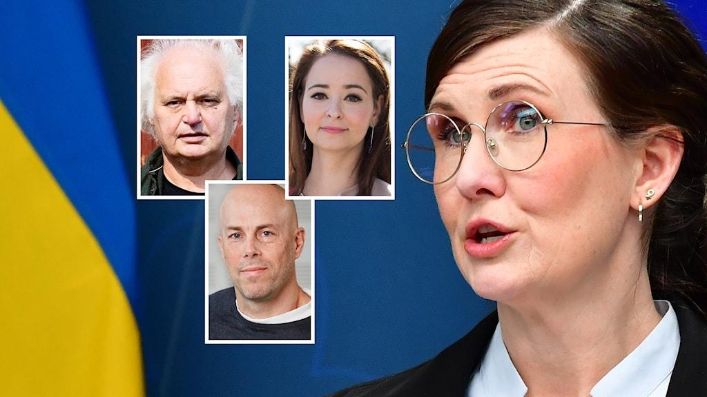 En kollage med miljöpartisten Märta Stenevi och panelen bestående av Göran Greider, Alice Teodorescu Måwe och Daniel Öhman.