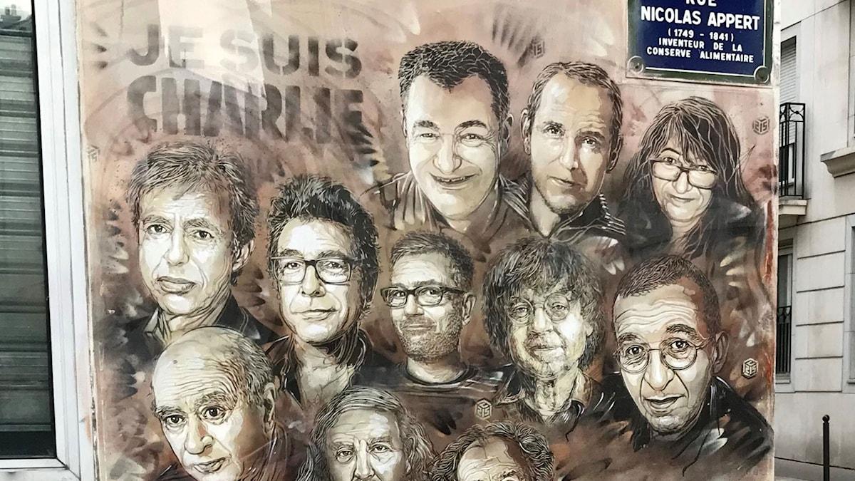 Byggnaden där tolv personer dödades på tidningen Charlie Hebdos redaktion.