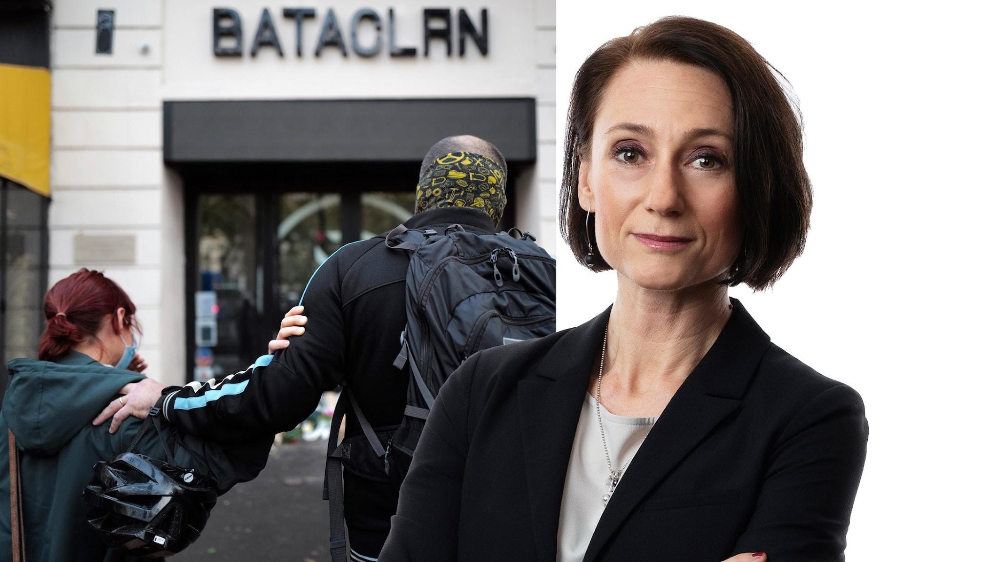 Sörjande utanför konsertlokalen Bataclan i Paris och en bild på Ekots korrespondent Marie Nilsson Boij