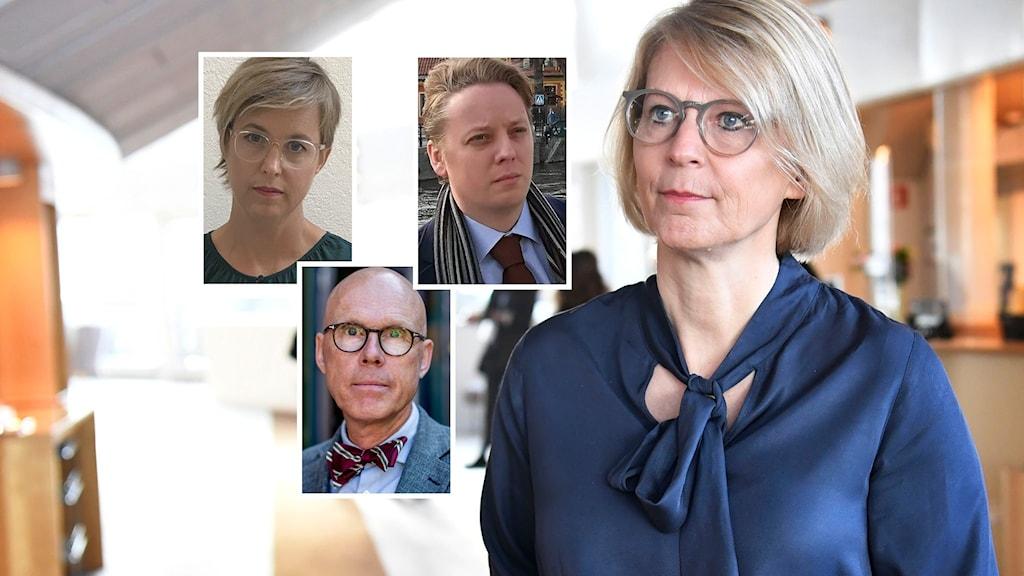 Lisa Pelling, Jonas Hinnfors, Arvid Hallén och Moderaternas ekonomisk-politiska talesperson Elisabeth Svantesson.