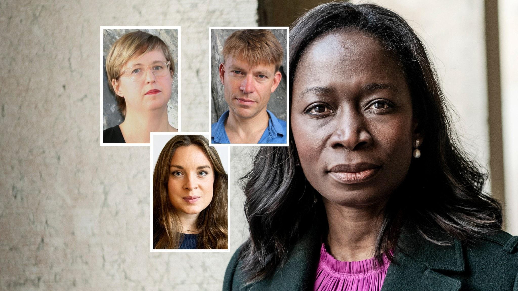 Kollage av porträtt: Liberalernas partiledare Nyamko Sabuni, Lisa Pelling från Dagens Arena, Matilda Molader från VLT och PM Nilsson från Dagens industri.