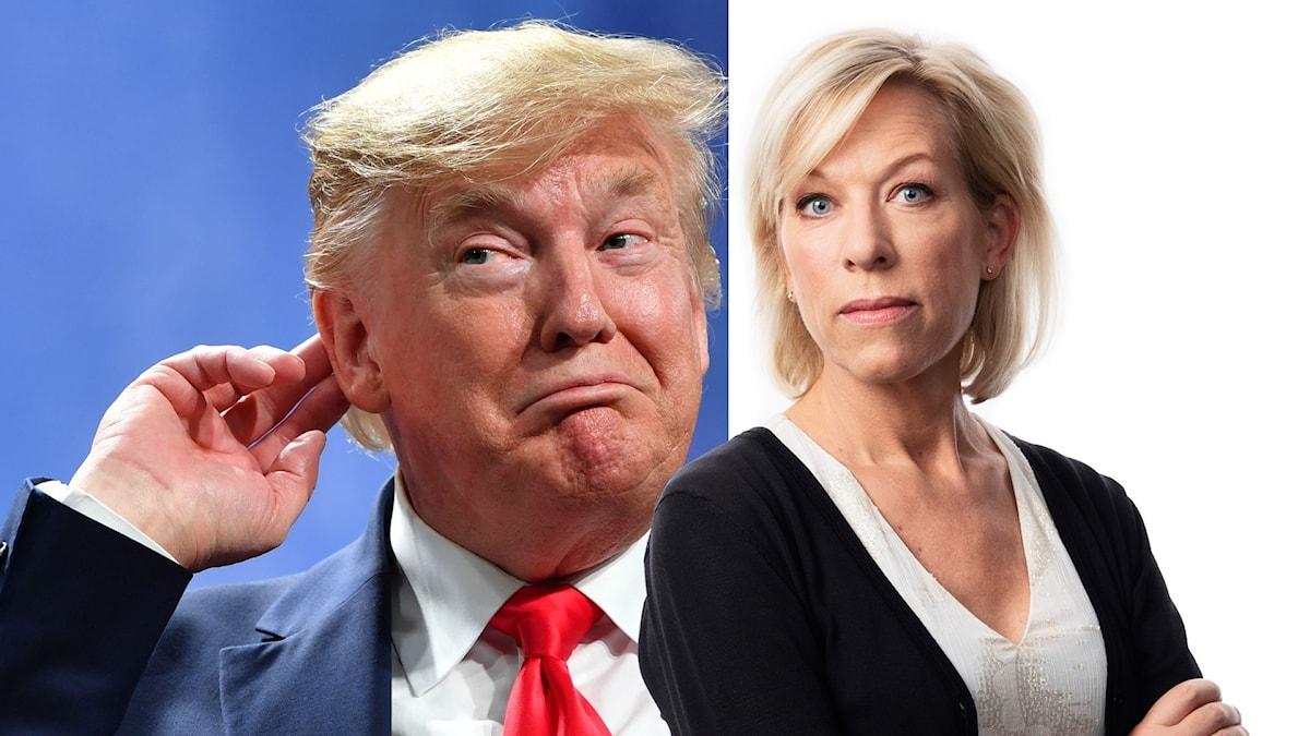 Montage med Ginna Lindberg och USA:s president Donald Trump