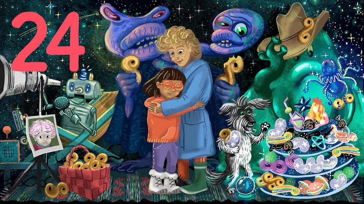 Biggest Bang, del 24: Tyra och Lukas kramar om varandra vid Slutet av universum – och Rufsa, Bertil, Kaza Kah, Bulgur Bax och Robot nr 1 är också där. Bild: Anna Sandler