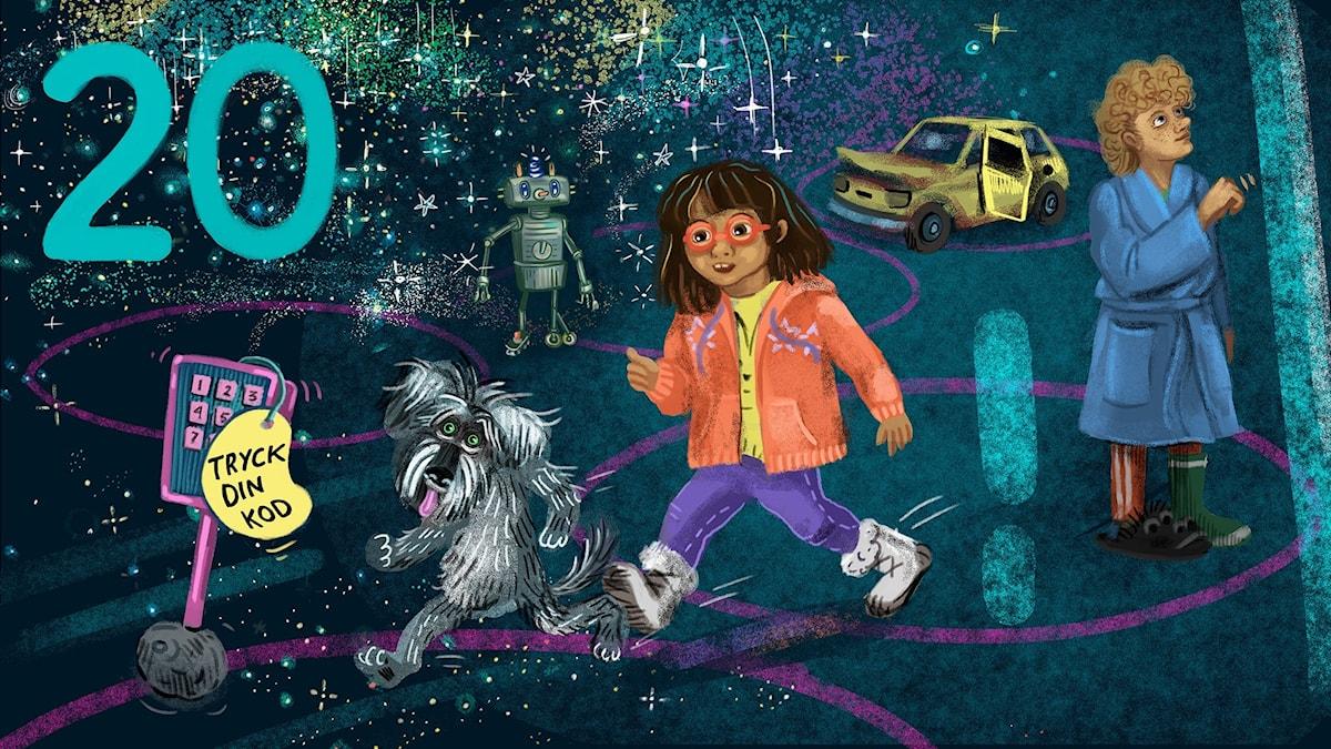 Biggest Bang, del 20: Tyra, Lukas och Rufsa har kommit till Slutet av Universum. Bild: Anna Sandler
