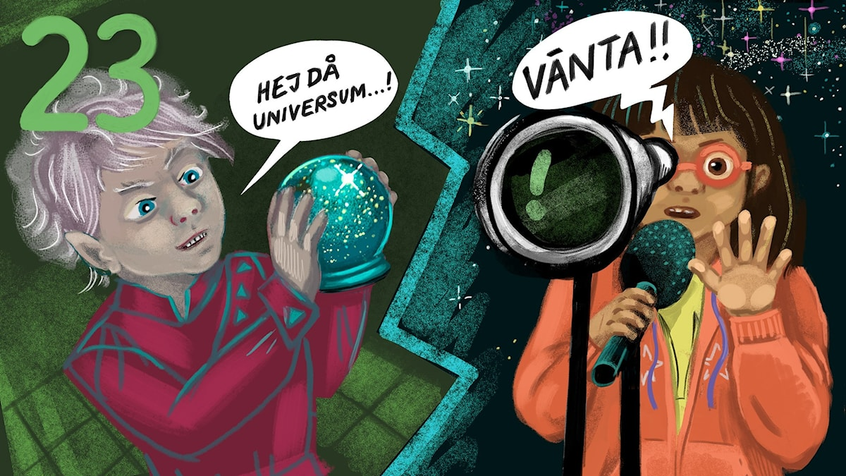 Biggest Bang, del 23: Tyra pratar med Horgatt Malex i Pratapparaten, han vill förstöra Universum-kulan. Bild: Anna Sandler