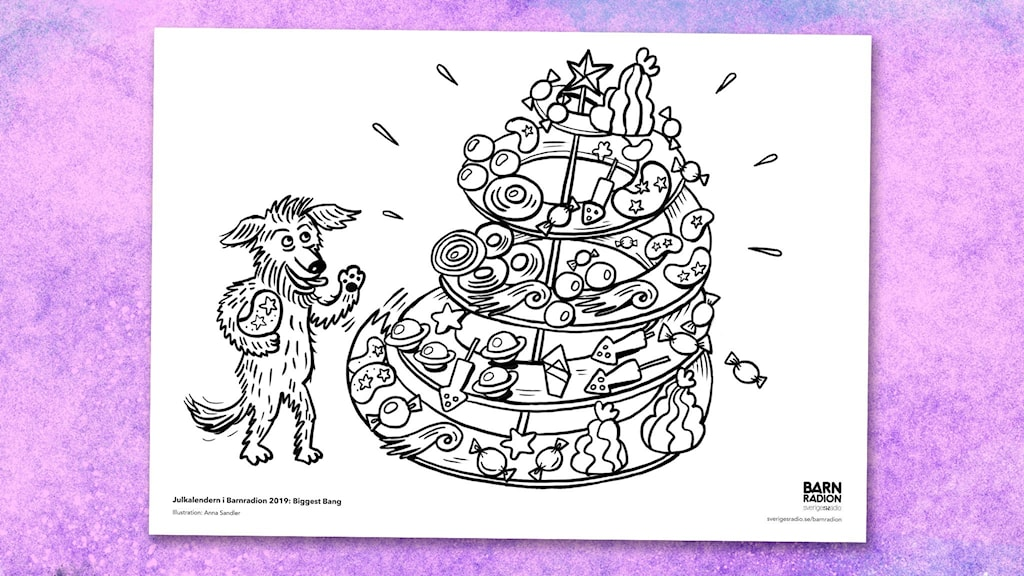 Färgläggningsbild till Julkalendern 2019. Illustration: Anna Sandler.