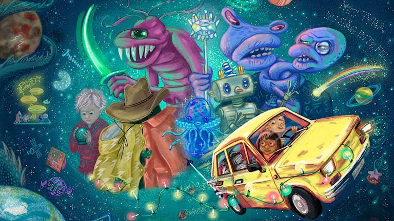 Häng med Tyra, Lukas och Rufsa på ett galet kosmiskt äventyr för att rädda universum.