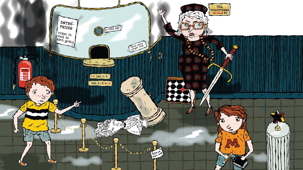 Brandkårsmysteriet av Martin Widmark, avsnitt 2. Illustration: Helena Willis.