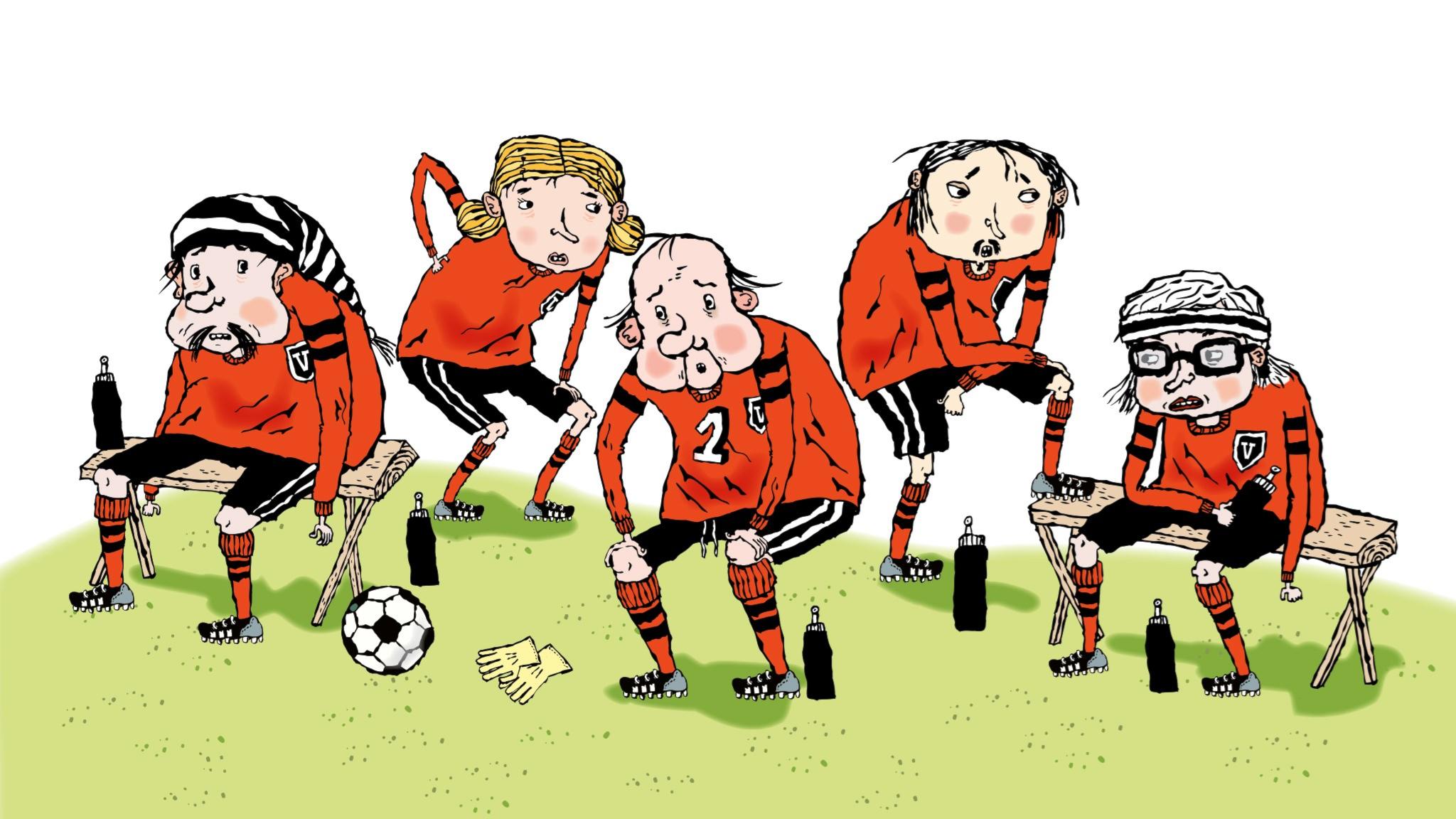 Fotbollsmysteriet av Martin Widmark, avsnitt 2. Illustration: Helena Willis.