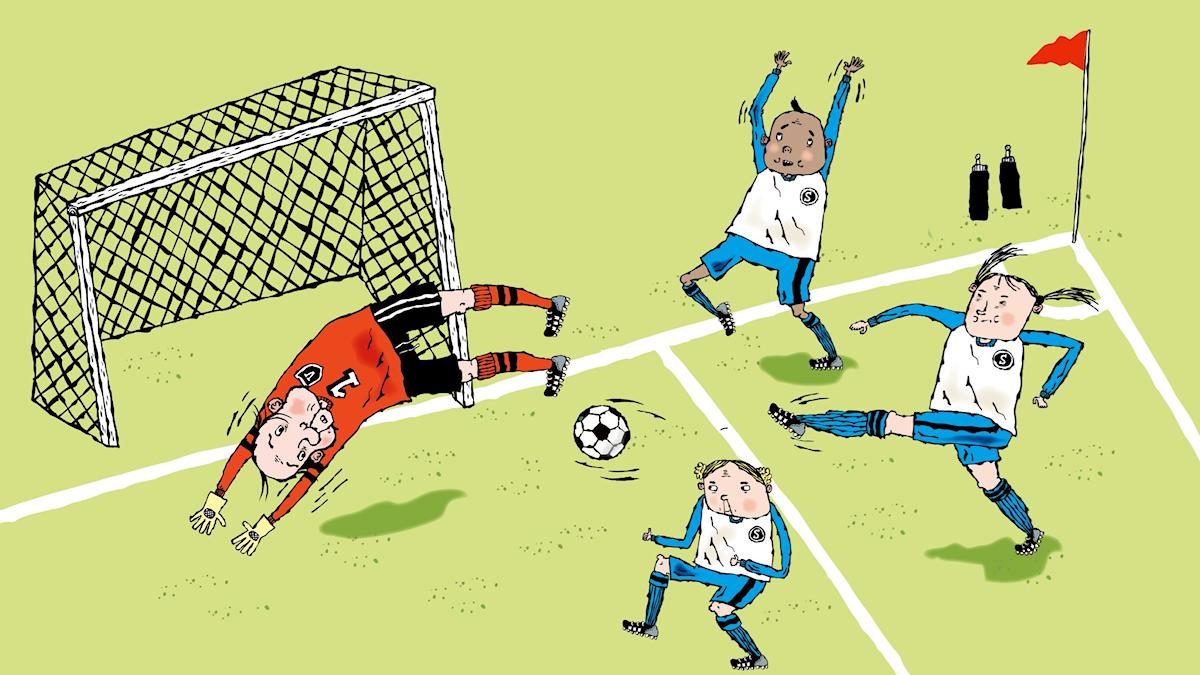 Fotbollsmysteriet av Martin Widmark, avsnitt 1. Illustration: Helena Willis.