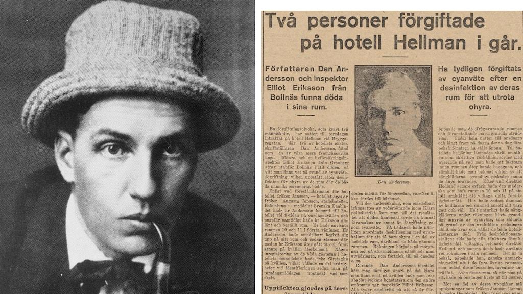 Bild av poeten Dan Andersson med hatt och artikle i Svd 1920