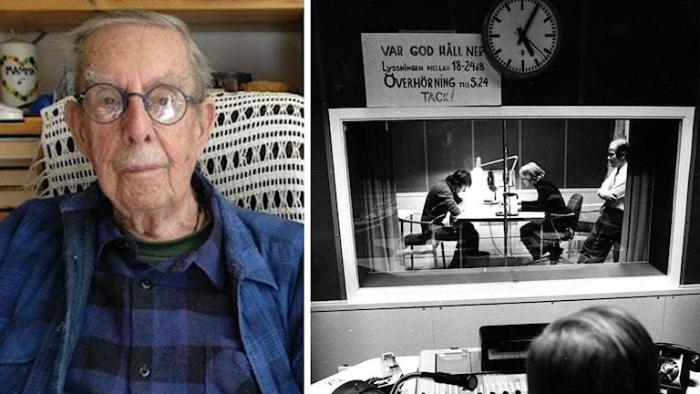 Stig Wickberg ja arkistokuva radiolähetyksestä.