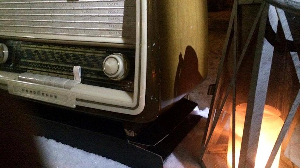 vanha radio kynttilä ljus vinter