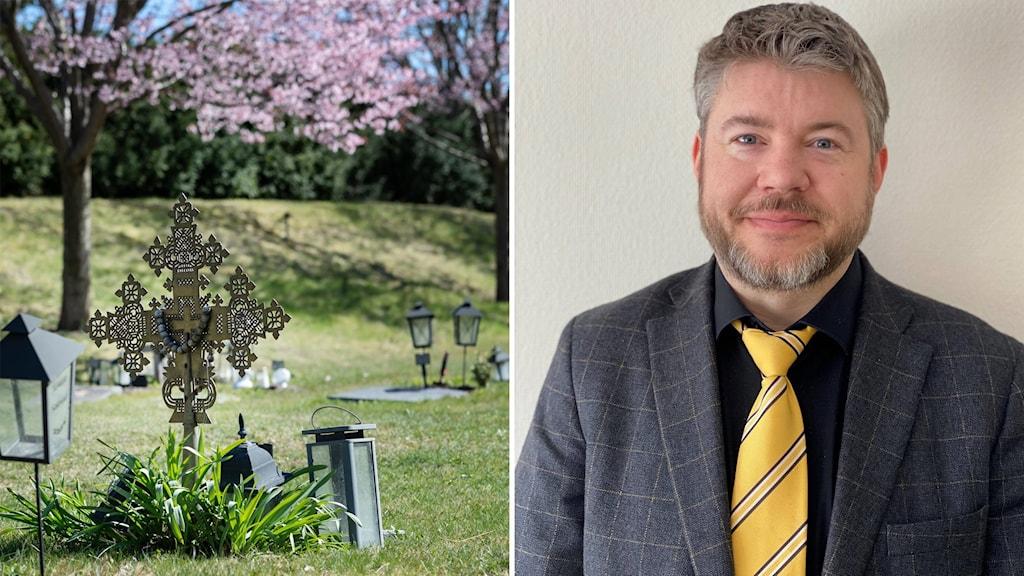 Tvådelad bild på en gravplats med ett stort kors och lykta bredvid på ett stort gräsfält och bild på Henrik Lindkvist, kyrkchef i Södertälje Pastorat rakt framifrån i grå kostym och gul slips.
