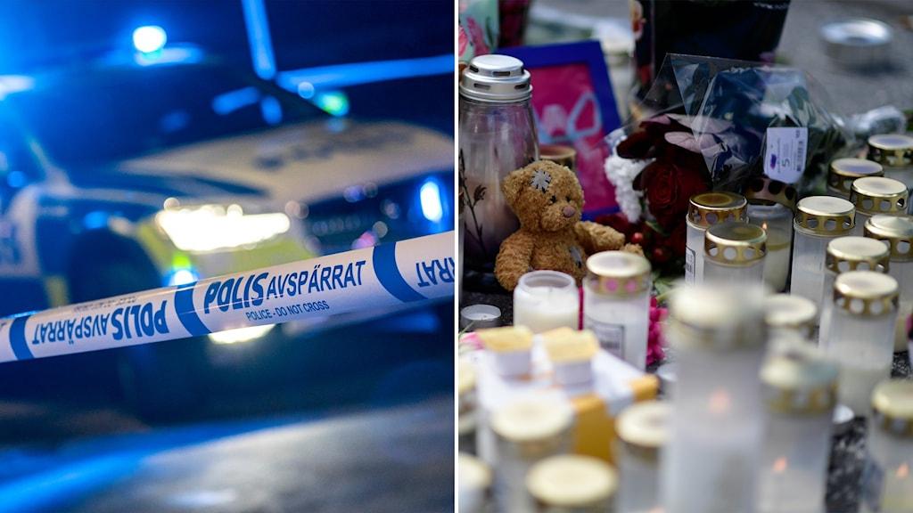 Delad bild: Polisbil, blommor och ljuslyktor vid en mordplats.