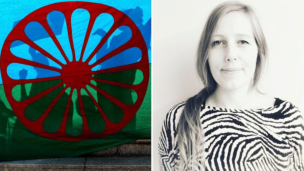 En splitbild på romska flaggan och Cecilia Viltre, utvecklignsledare på Länsstyrelsen i Stockholm.