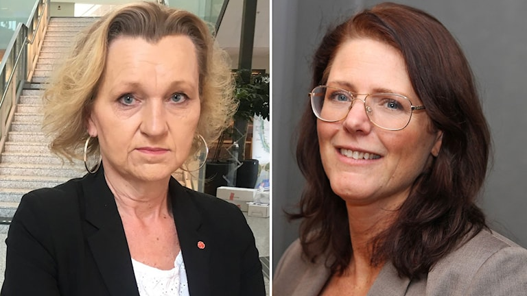 Ett montage av två bilder på socialdemokraterna Boel Godner och Ebba Östlin.