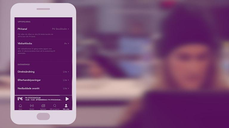 En bild på en mobilvy som visar appen Sveriges Radio Play.