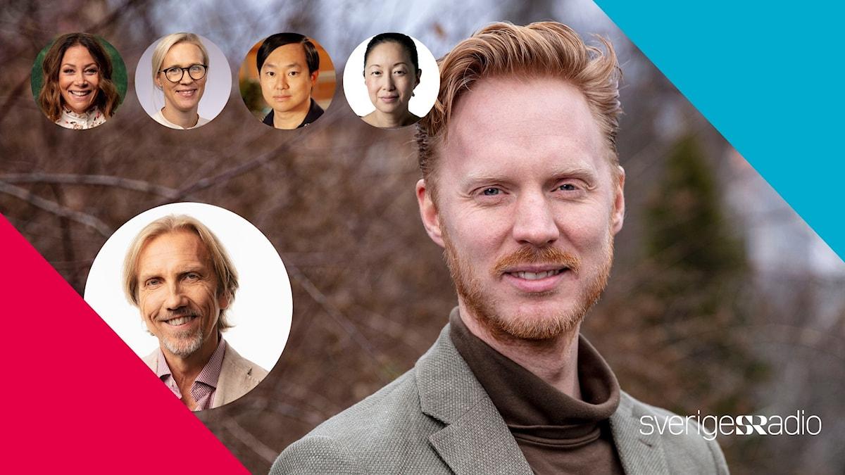 Inbjudan till #srfrukost med porträtt på alla medverkande och moderator Erik Blix