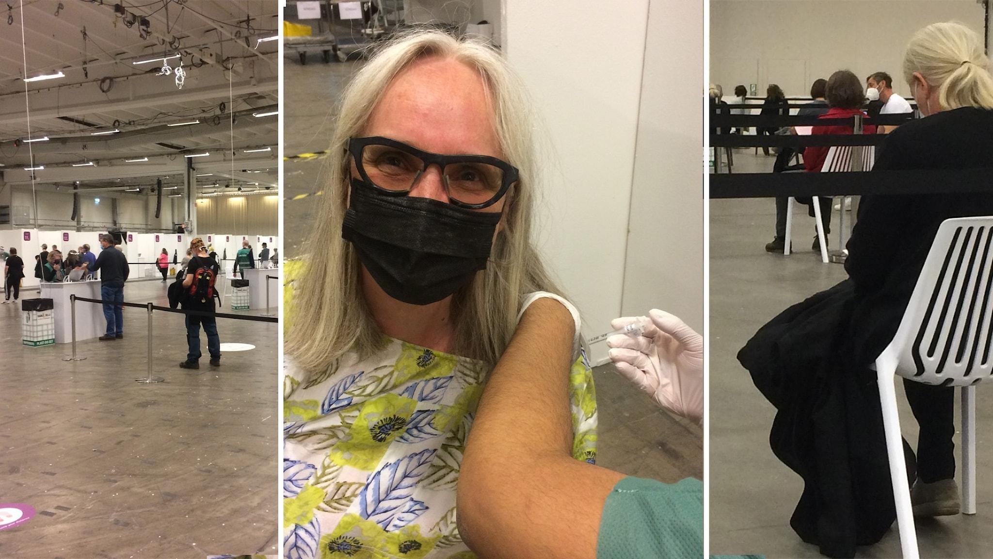 Vetenskapsradions Annika Östman får vaccin.