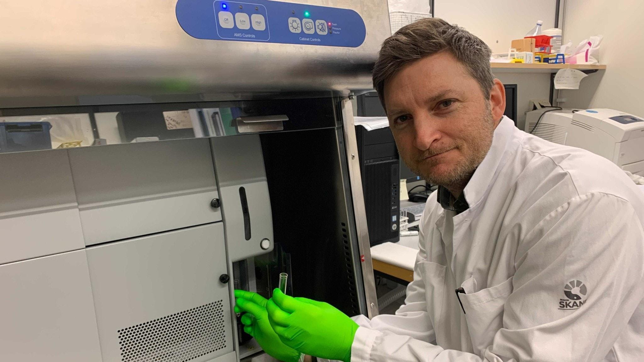 Forskaren Marcus Järås i Lund har gröna handskar när han tar ut ett provrör ur sorteringsmaskinen med CRISPR-förändrade gener . Maskinen ser ut som ett liggande kylskåp.