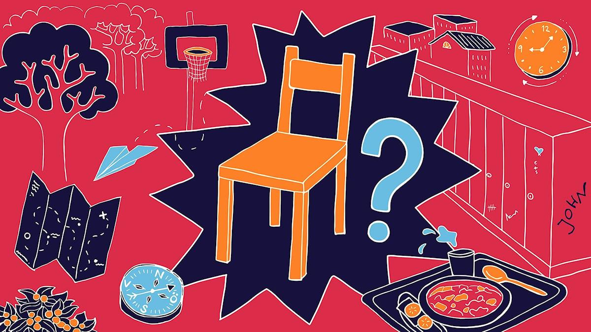 Är det ledigt här, del 1 - en bild med en tom stol och ett frågetecken bredvid. Runtomkring syns detaljer från en skolmiljö. Illustration: Allis Bergstrand