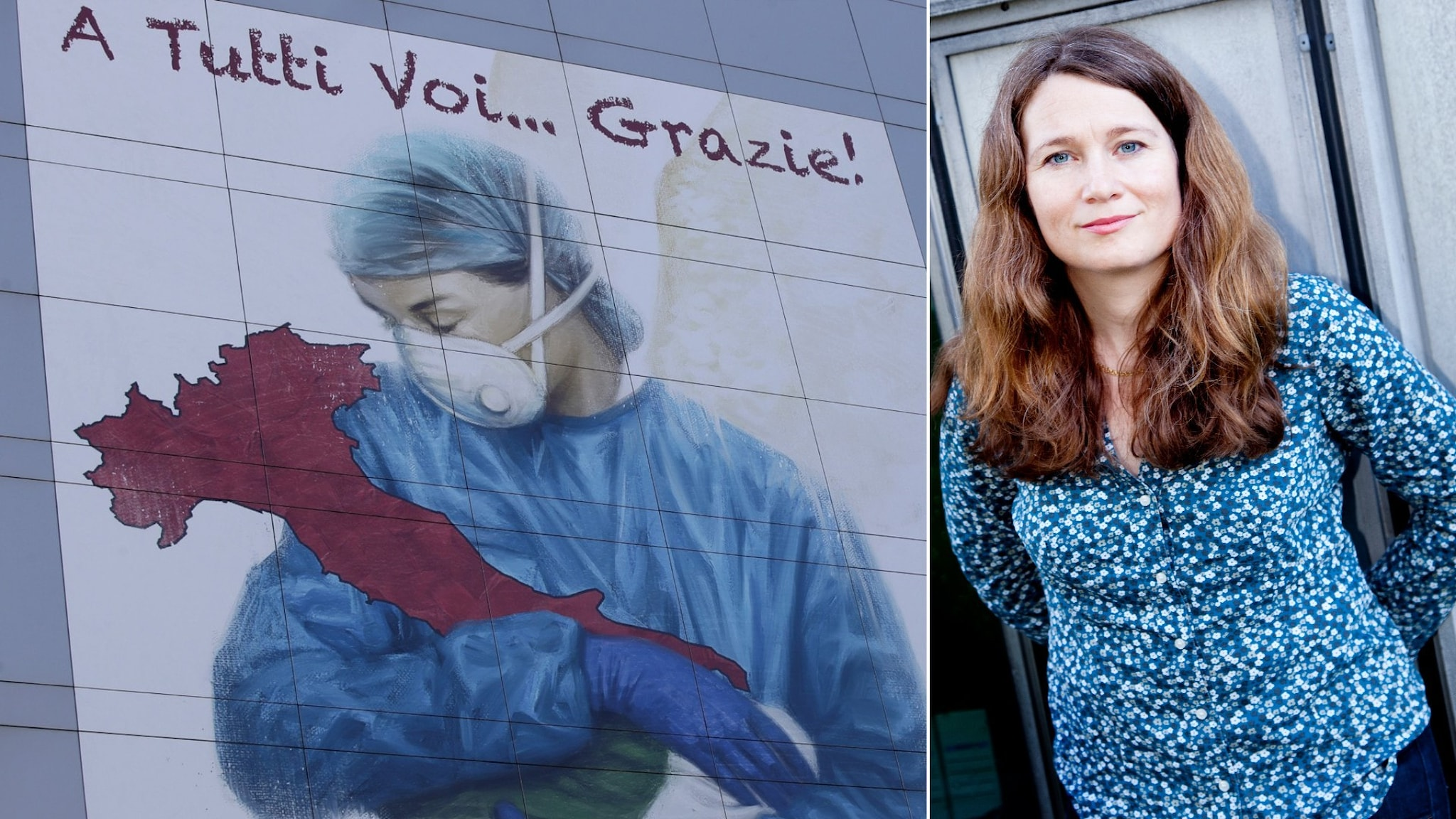 Konstverk på en vägg i Italien som föreställer en läkare som håller Italien i sin famn till vänster. Till höger en bild på Ulrika Björksten.