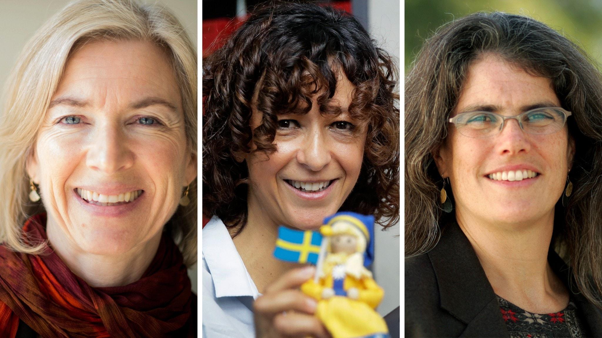 Närbilder av Jennifer Doudna, Emmanuel Charpentier och Andrea Ghez.