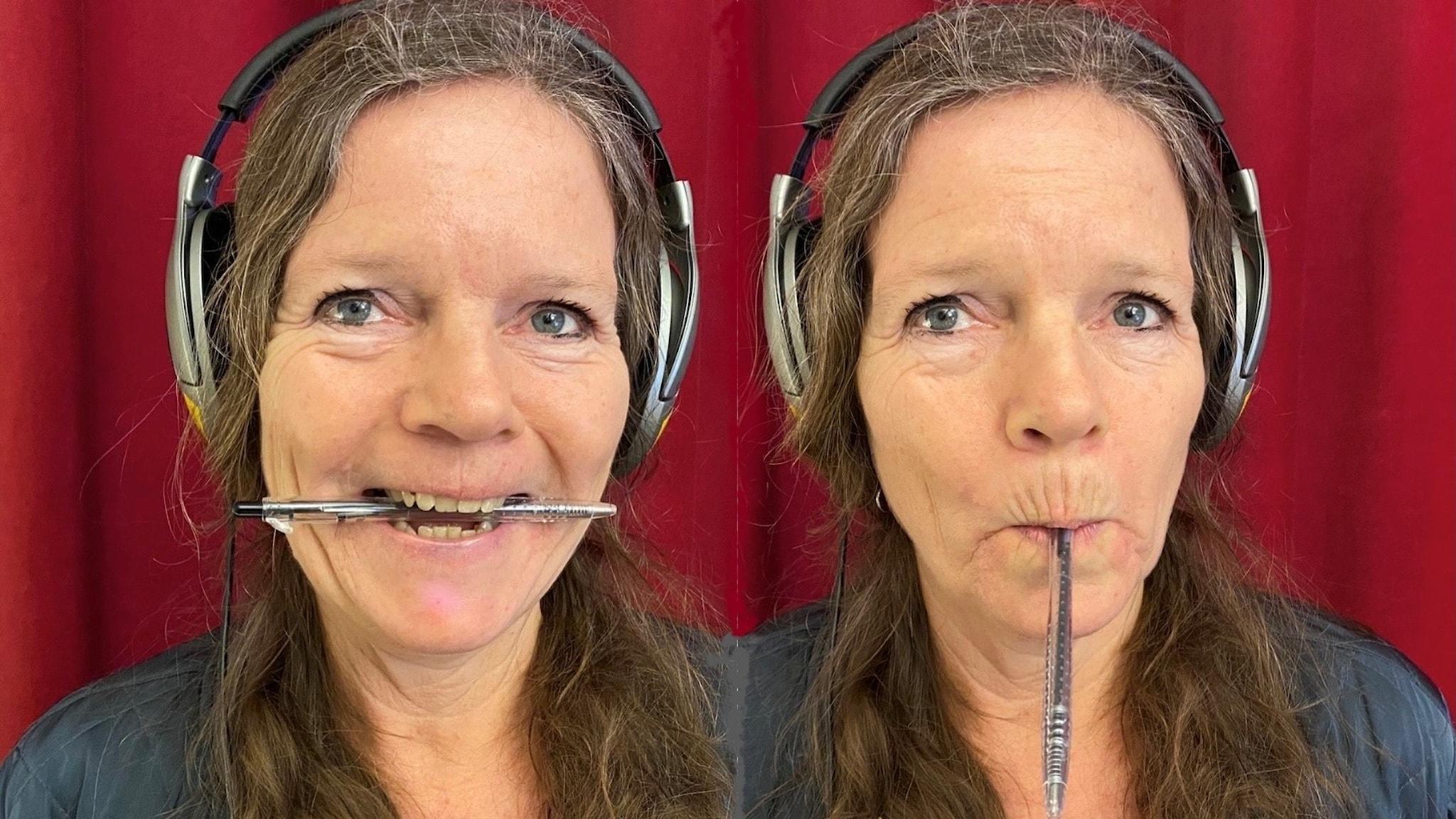 Lena Nordlund på två bilder, en med penna på tvären i munnen, och en med läpparna snörpta runt pennan.